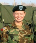 This is Army Captain Christina Fanitzi, engaged and in uniform. Stay tuned to see her finished wedding look.